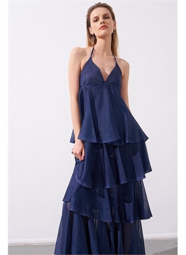 Rue Lacivert Askılı Uzun Triko Elbise Lacivert